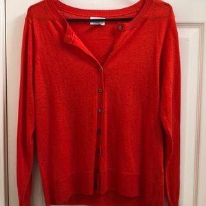 Orange button up sweater